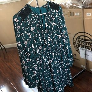Express Floral Print Long Sleeve Surplice Dress